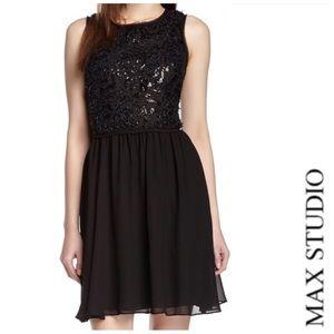 MAX STUDIO Black Sequin Bodice Flare Mini Dress